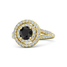 Round Black Diamond 18K Yellow Gold Ring with Diamond