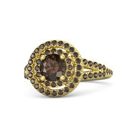 Round Smoky Quartz 18K Yellow Gold Ring with Smoky Quartz