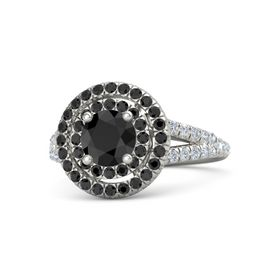 Round Black Diamond Palladium Ring with Black Diamond and Diamond