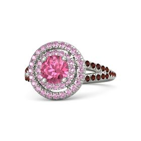 Round Pink Tourmaline Palladium Ring with Pink Sapphire and Red Garnet