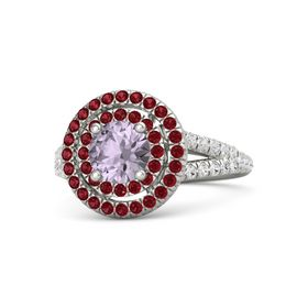 Round Rose de France Platinum Ring with Ruby and White Sapphire