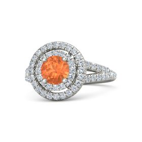 Round Fire Opal Platinum Ring with Diamond