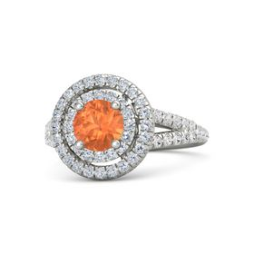 Round Fire Opal Platinum Ring with Diamond and White Sapphire