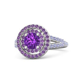 Round Amethyst Sterling Silver Ring with Amethyst and Tanzanite
