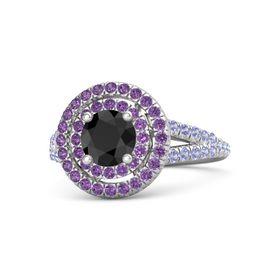 Round Black Diamond Sterling Silver Ring with Amethyst and Tanzanite