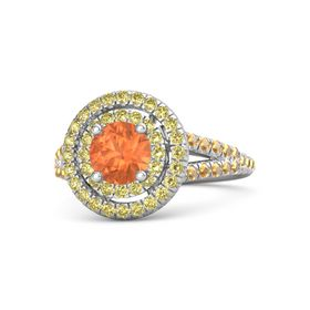 Round Fire Opal Sterling Silver Ring with Yellow Sapphire & Citrine