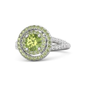 Round Peridot Sterling Silver Ring with Peridot and White Sapphire