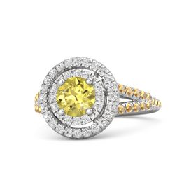 Round Yellow Sapphire Sterling Silver Ring with White Sapphire and Citrine