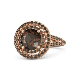 Round Smoky Quartz 18K Rose Gold Ring with Smoky Quartz