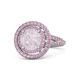 Round Rose Quartz Palladium Ring with Pink Tourmaline & Pink Sapphire