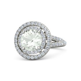 Round Green Amethyst Palladium Ring with Diamond
