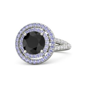 Round Black Diamond Platinum Ring with Tanzanite & White Sapphire