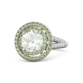 Round Green Amethyst Platinum Ring with Peridot & White Sapphire