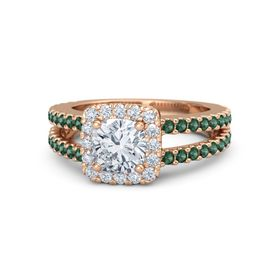 Cushion Diamond 14K Rose Gold Ring with Diamond and Alexandrite
