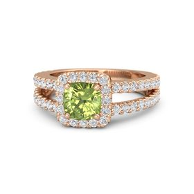 Cushion Peridot 14K Rose Gold Ring with White Sapphire