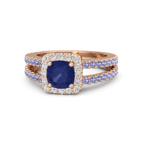Cushion Blue Sapphire 14K Rose Gold Ring with White Sapphire and Iolite