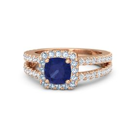 Cushion Blue Sapphire 14K Rose Gold Ring with Blue Topaz and White Sapphire