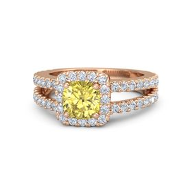 Cushion Yellow Sapphire 14K Rose Gold Ring with Diamond