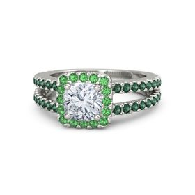 Cushion Diamond 14K White Gold Ring with Emerald and Alexandrite