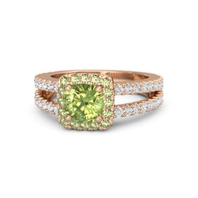 Cushion Peridot 18K Rose Gold Ring with Peridot and White Sapphire