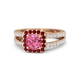Cushion Pink Tourmaline 18K Rose Gold Ring with Ruby and White Sapphire