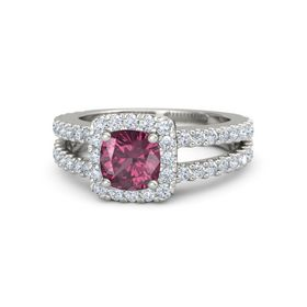 Cushion Rhodolite Garnet 18K White Gold Ring with Diamond
