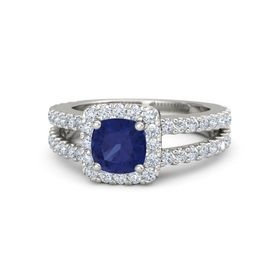 Cushion Sapphire 18K White Gold Ring with Diamond