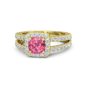 Cushion Pink Tourmaline 18K Yellow Gold Ring with Diamond