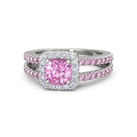 Cushion Pink Sapphire Platinum Ring with Diamond & Pink Sapphire
