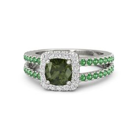 Cushion Green Tourmaline Platinum Ring with White Sapphire & Emerald