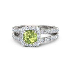 Cushion Peridot Platinum Ring with Diamond