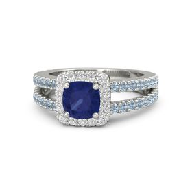 Cushion Sapphire Platinum Ring with White Sapphire & Blue Topaz