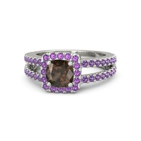 Cushion Smoky Quartz Platinum Ring with Amethyst