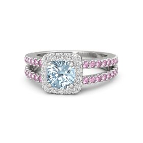 Cushion Aquamarine Sterling Silver Ring with White Sapphire & Pink Sapphire