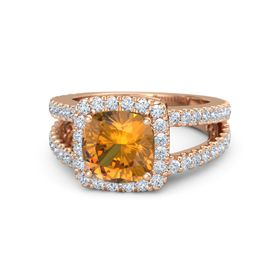 Cushion Citrine 14K Rose Gold Ring with Diamond