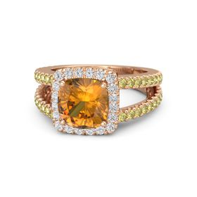 Cushion Citrine 14K Rose Gold Ring with White Sapphire and Yellow Sapphire