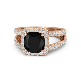 Cushion Black Onyx 14K Rose Gold Ring with White Sapphire