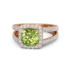 Cushion Peridot 14K Rose Gold Ring with Diamond