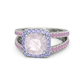 Cushion Rose Quartz 14K White Gold Ring with Iolite and Pink Tourmaline