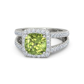 Cushion Peridot 14K White Gold Ring with Diamond