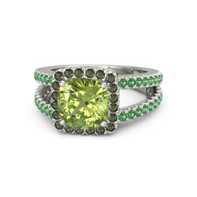 Cushion Peridot 14K White Gold Ring with Green Tourmaline and Emerald