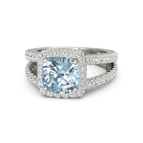 Cushion Aquamarine 14K White Gold Ring with White Sapphire