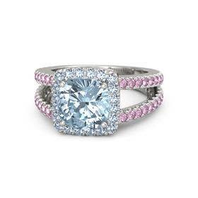Cushion Aquamarine 14K White Gold Ring with Blue Topaz & Pink Sapphire