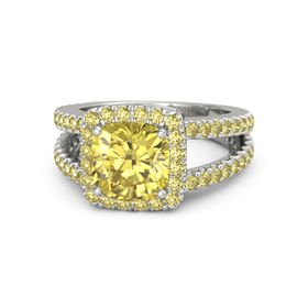 Cushion Yellow Sapphire 14K White Gold Ring with Yellow Sapphire
