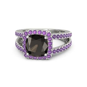 Cushion Smoky Quartz 14K White Gold Ring with Amethyst