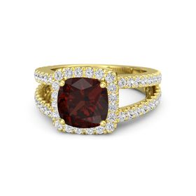 Cushion Red Garnet 14K Yellow Gold Ring with White Sapphire