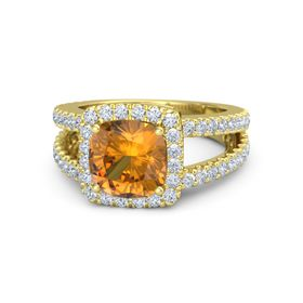 Cushion Citrine 14K Yellow Gold Ring with Diamond