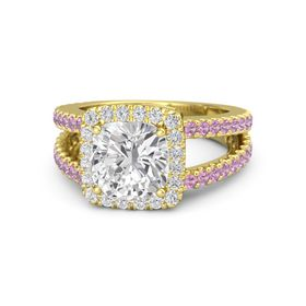 Cushion White Sapphire 14K Yellow Gold Ring with White Sapphire & Pink Tourmaline
