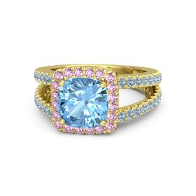 Cushion Blue Topaz 14K Yellow Gold Ring with Pink Sapphire and Blue Topaz