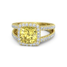Cushion Yellow Sapphire 14K Yellow Gold Ring with Diamond